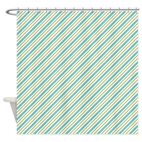 Blue And Green Stripes Shower Curtain By Colorfulpatterns