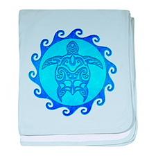 Blue Maori Turtle baby blanket