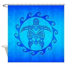 Blue Ocean Maori Turtle Shower Curtain