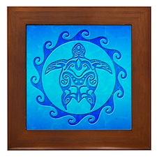 Blue Ocean Maori Turtle Framed Tile
