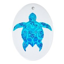 Tribal Honu Hibiscus Ornament (Oval)