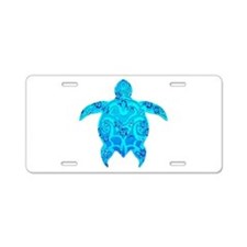 Tribal Honu Hibiscus Aluminum License Plate