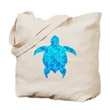 Tribal Honu Hibiscus Tote Bag