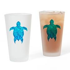 Tribal Honu Hibiscus Drinking Glass