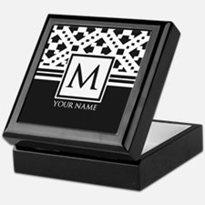 Simple Pattern Black Monogram Keepsake Box