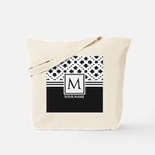 Simple Pattern Black Monogram Tote Bag