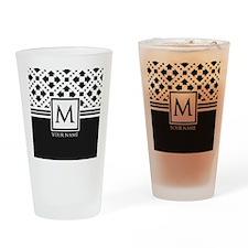 Simple Pattern Black Monogram Drinking Glass