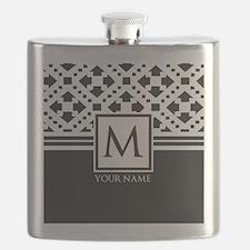 Simple Pattern Black Monogram Flask