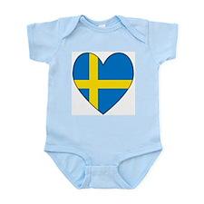 Swedish Flag Heart Infant Bodysuit