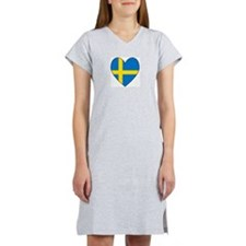 Swedish Flag Heart Women's Nightshirt