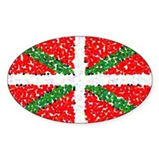 Basque Flag Pointillized Oval Decal