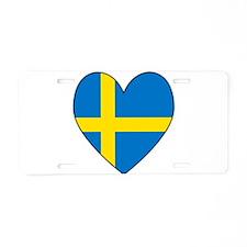 Swedish Flag Heart Aluminum License Plate