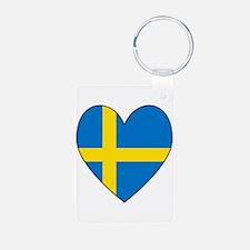 Swedish Flag Heart Keychains
