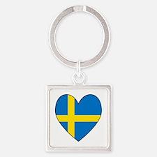 Swedish Flag Heart Square Keychain