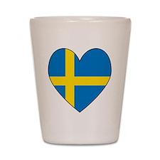 Swedish Flag Heart Shot Glass