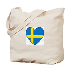 Swedish Flag Heart Tote Bag