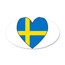 Swedish Flag Heart Oval Car Magnet