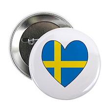"""Swedish Flag Heart 2.25"""" Button"""