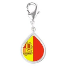 Flag of Andorra (labeled) Silver Teardrop Charm