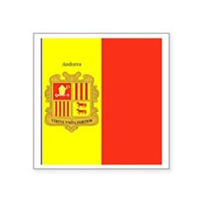 "Flag of Andorra (labeled) Square Sticker 3"" x 3"""