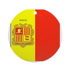 Flag of Andorra (labeled) Round Ornament