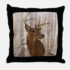 woodgrain deer Throw Pillow