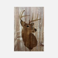 woodgrain deer Rectangle Magnet