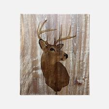 woodgrain deer Throw Blanket