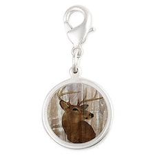 woodgrain deer Silver Round Charm