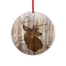 woodgrain deer Round Ornament