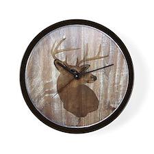 woodgrain deer Wall Clock