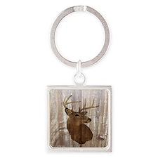 woodgrain deer Square Keychain
