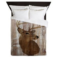 woodgrain deer Queen Duvet