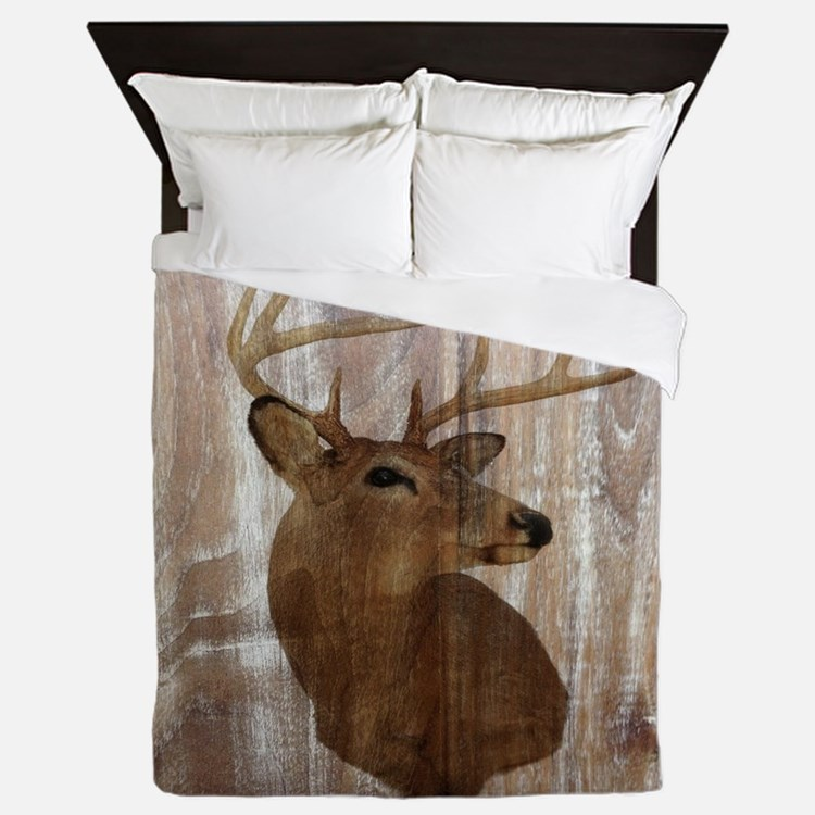 woodgrain deer Queen Duvet