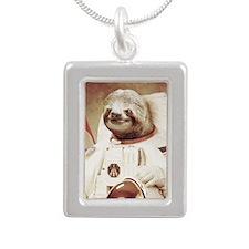 Astronaut Slot Silver Portrait Necklace