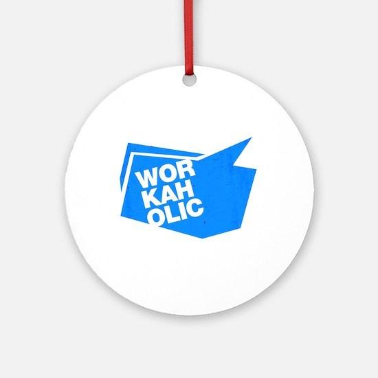 workaholic blue Ornament (Round)