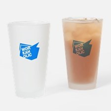 workaholic blue Drinking Glass