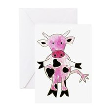 Cute Pink Cow Greeting Card