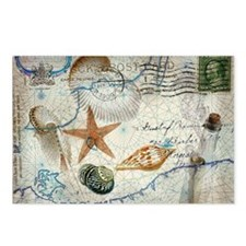 nautical seashells vintag Postcards (Package of 8)