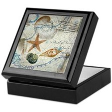 nautical seashells vintage map Keepsake Box