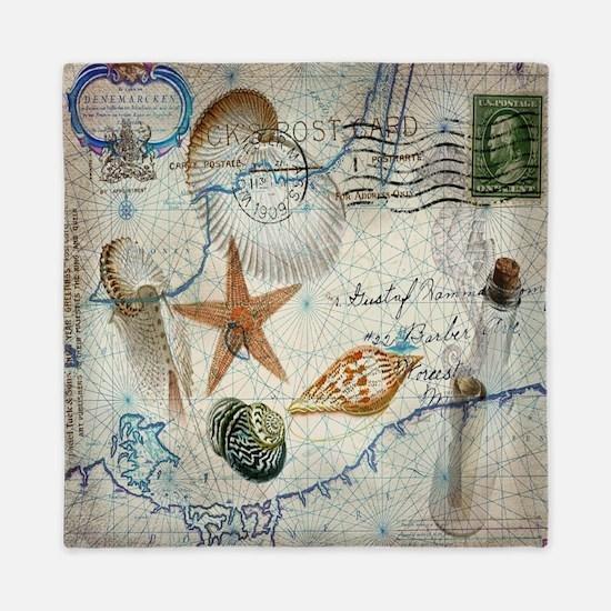 nautical seashells vintage map Queen Duvet