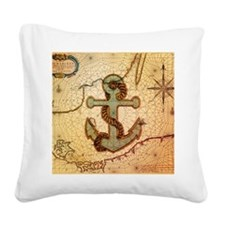 natical anchor vintage voyage Square Canvas Pillow