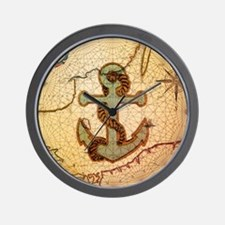 natical anchor vintage voyage  Wall Clock
