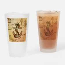natical anchor vintage voyage  Drinking Glass
