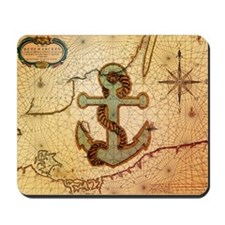 natical anchor vintage voyage  Mousepad