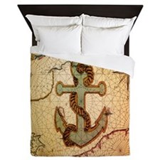 natical anchor vintage voyage Queen Duvet