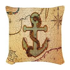 natical anchor vintage voyage Woven Throw Pillow