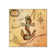 "natical anchor vintage voya Square Sticker 3"" x 3"""