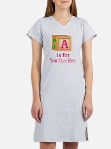 Custom Pink Block Women's Nightshirt