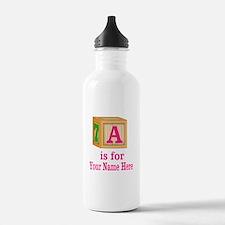 Custom Pink Block Water Bottle